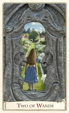 Alice In Wonderland Tarot card Two of Wands