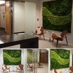 CruxDiy Snapshots: Browse, discover, and be inspired by the world is best home designs. Ed Design, Wall Design, Design Ideas, Stone Panels, Cafe Bistro, Moss Wall, Open Office, Waiting Area, Cafe Interior