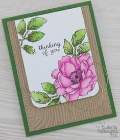 Altenew Beautiful Day; Woodgrain Background; watercolor; pink and green; large flower; floss; floral