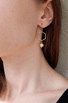 Hexagon jewelry on every day Delicate birthstone sterling silver earrings Multi stone earrings
