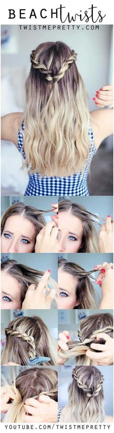 Best Hairstyles for Summer - Cute Summer Twists - Easy and Cute Hair Styles for Long, Medium and Short hair - Whether you have Black or Blonde Hair, Check Out The Best Styles from 2016 and 2017 - Tutorial for Braided Updo, Cute Teen Looks, Casual and Simple Styles, Heatless and Natural Looks for the Wedding - thegoddess.com/healthy-desserts-to-try #HairBraidingTutorial #EasyBraidTutorials click for info.