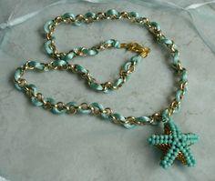 collana stella verde acqua