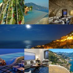 This luxurious adult-only hotel is perched on a cliff with panoramic views of the Gulf of Salerno. Hotel Spa, Hotel Deals, Santa, Italy, Luxury, Pink, Italia