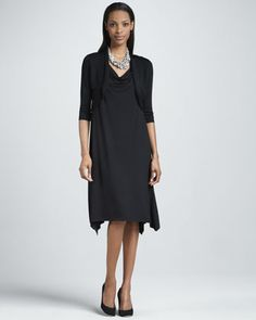 Crinkle Half-Sleeve Knit Shrug & Cowl-Neck Dress by Eileen Fisher at Neiman Marcus.