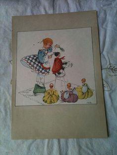 "Swedish illustration from the Rare Book 'When Grandma Was A Little Girl"" M. Broman illustrator in 1942"