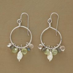 """ANITA EARRINGS--Cultured pearls, rose quartz, labradorite and prehnite swing and sway on Naomi Herndon's hand hammered sterling silver hoops. Exclusive. 2-1/8""""L."""