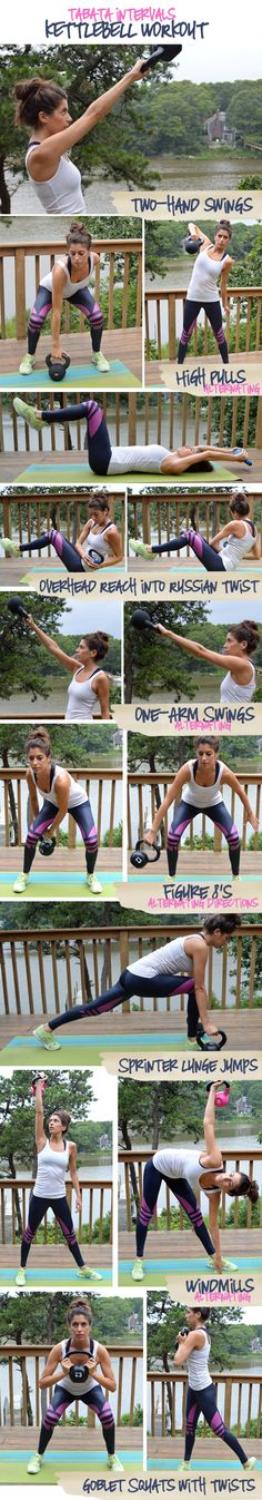 Tabata Intervals Kettlebell Workout. Takes just over 30 minutes and you'll do two-hand swings, high pulls, russian twist sit-ups, figure 8s, sprinter lunge jumps, windmills and twisting goblet squats.