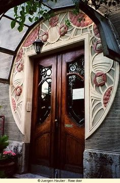 The Door By Henry Clemens van de Velde. i adore the way he applied something different on the ordinary door. This piece brings me back with lots of memory and its a timeless beauty. The color is so fresh with cream and redpink, nice  contrast with a monogamy door.