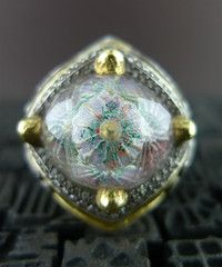 Sevan Bicakci One of a Kind Carved Hagia Sophia Dome Ring with Diamonds in 24K Gold and Silver