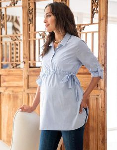 Seraphine's chic Pinstripe Empire Maternity Shirt in soft stretch cotton is a versatile must-have for your new wardrobe. Stylish Maternity, Maternity Wear, Maternity Tops, Maternity Dresses, Maternity Fashion, Pregnancy Outfits, Pregnancy Shirts, Pregnancy Tips, Early Pregnancy
