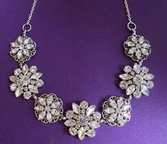 Wedding Necklace, Bridal Jewelry, Vintage Style statement Necklace,silver wedding Jewelry, Silver and Crystal necklace, statement jewelry