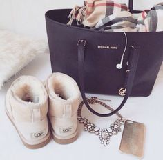 Michael Kors tote, UGG boots, & Burberry scarf perfect I need this