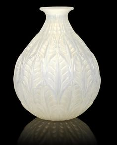 René Lalique  'Malesherbes' a Vase, design 1927  opalescent glass, frosted and polished  23cm high, etched 'R. Lalique'