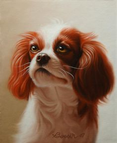Pet Portrait of a #Cavalier King Charles Spaniel Painting...beautiful! #dogs #art