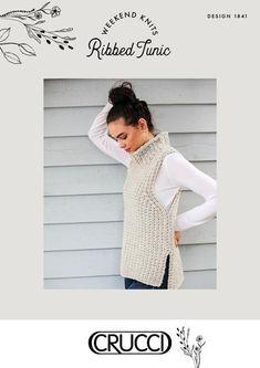 Ribbed Tunic Knitting pattern by Crucci NZ Knit Vest Pattern, Knit Patterns, Chunky Crochet, Knit Crochet, Knitting Designs, Knitting Projects, Christmas Knitting Patterns, Red Heart Yarn, Arm Knitting