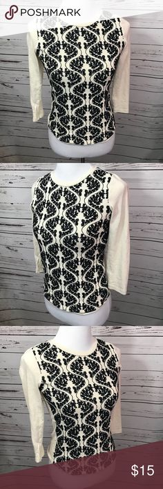 J. Crew 3/4 sleeve top Lace detail on the front.  Size extra small.  Cream and black. J. Crew Tops Blouses
