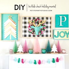 Holiday Mantel Decorating - For the office/playroom Diy Christmas Decorations For Home, Christmas Mantels, Vintage Christmas Ornaments, Retro Christmas, Christmas Signs, Christmas Colors, Christmas Holidays, Christmas Crafts, Victorian Christmas