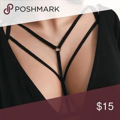 Strappy Cage Bra Strappy elastic cage bra harness.  100% polyester.  NWT. Tops