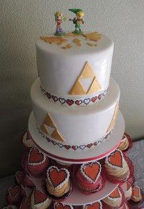 Close up of Zelda wedding cake and cupcakes