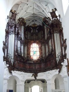 Cistercian Church heavily ornate rococo organ in Katedra Oliwa, city of Gdańsk, Poland