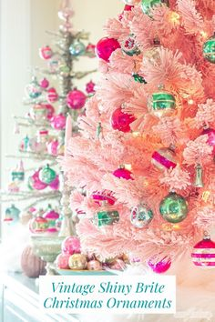 christmas tree pink Visions of sugarplums! What a gorgeous way to display a collection of Shiny Brite ornaments and other vintage Christmas ornaments than on a flocked pink Christmas tree! Do you know the history of Shiny Brite ornaments Pink Christmas Decorations, Pink Christmas Tree, Beautiful Christmas Trees, Vintage Christmas Ornaments, Christmas Wreaths, Christmas Crafts, Christmas Ideas, Rustic Christmas, Holiday Ideas