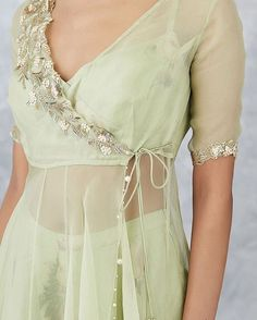 P R I N T S // SERENA Our easy breezy Sage organza angarakha jacket set is perfect for summer mehendis! --- 🌸Shop at… Indian Fashion Dresses, Indian Gowns Dresses, Dress Indian Style, Indian Designer Outfits, Indian Blouse, Designer Party Wear Dresses, Kurti Designs Party Wear, Lehenga Designs, Indian Wedding Outfits
