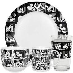 Zrike Disney® Mickey Grid Dinnerware in Black/White - BedBathandBeyond.com