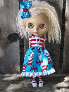 dolly molly SEUSS STRIPED dress and bow for BLYTHE doll Dr. $25.00, via Etsy.