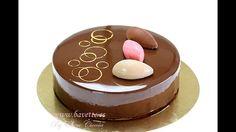 Tarta mascarpone, con frambuesa, chocolate , y glaseado espejo.