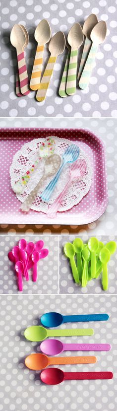colorful wooden or plastic silverware and party supplies from Shop Sweet Lulu! via Junebug Weddings