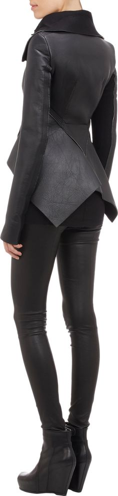Rick Owens Leather & Neoprene Peplum Jacket at Barneys.com