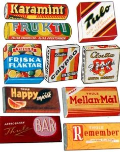 Swedish sweet packets from the 1960s.