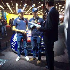 Kevin et Timmy Hansen pilotes WRX étaient sur le stand Peugeot pour parler de leur discipline. #MondialAuto #automobile #automotive #voiture #cars #pilote #wrx #peugeot #interview #carsofinstagram #instacars