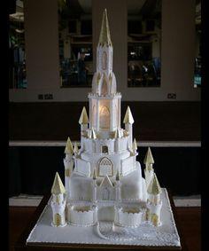 Fairytale Castle Wedding Cakes With Blue Trim Amazing Light Up
