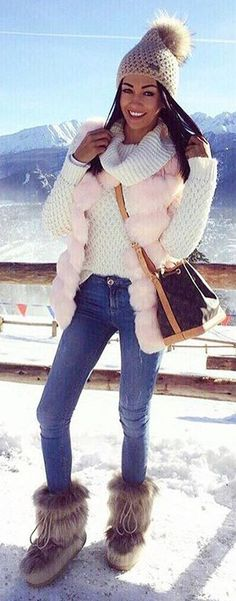 #winter #fashion /  Pink Faux Fur Vest + Skinny Jeans + Fur Booties + Cream Knit