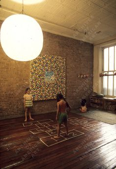 Robin Forbes - Children playing hopscotch indoors, 1976 Nov.