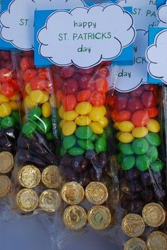 Kids St. Patrick's Day treat bags Skittles and