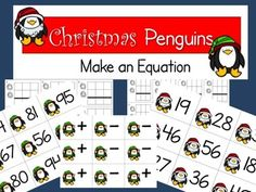 Use these adorable penguins from Krista Wallden to practice addition and subtraction with regrouping. Be sure to hop over to Krista's TpT store to see all her other wonderful shares and ideas.