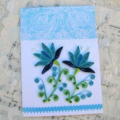 Quilling Card Paper Quilled Blue SNOWDROP Flower Vintage Handmade by Enchanted Quilling on Etsy ($6.95)