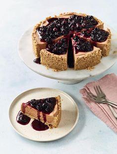 Nadiya Hussain's Banana Ice Cream Cheesecake with Blueberry Compote - The Happy Foodie