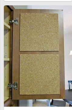 Cork board the inside of an rv cabinet! Great idea for posting reminders, schedules and reservations! Definetly doing this!
