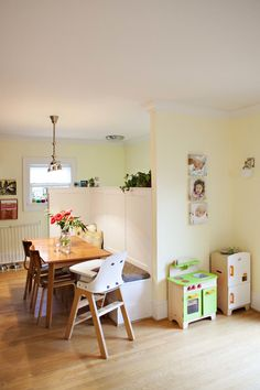 The kids have a little kitchen of their own, in an out-of-the-way spot.