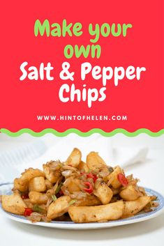 Salt and pepper chips are one of my favorite things to get at a Chinese takeaway. Here's a quick and easy way to make the delicious side dish t at home, using oven chips and fresh chilli. Healthy Chinese Recipes, Veggie Recipes, Asian Recipes, Mexican Food Recipes, Dinner Recipes, Cooking Recipes, Healthy Recipes, Veggie Food, Vegetarian Food