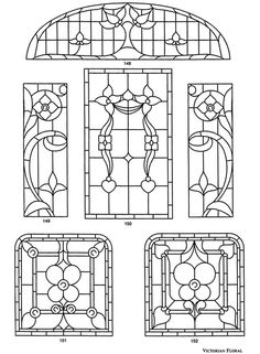 printable victorian stained glass patterns | Victorian Stained Glass Designs Dover publications