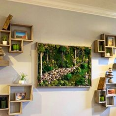 """The """"Canopy"""" - Living Wall Moss Art. Real Preserved Moss w/Birch Branches in Barn wood Frame. Home/Office Decor. Gifts for Home Moss Wall Art, Moss Art, Home Office Decor, Diy Home Decor, Birch Branches, Barn Wood Frames, Rustic Barn, Art Of Living, Decoration"""