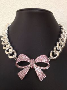 Pink Crystal Bow with Large Chunky Silver Chain Necklace