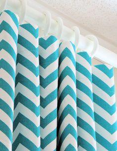 Designer Curtains - Pair of Decorative Designer Custom Curtains Drapes  50 x 63 True Turquiose and White Chevron Zig Zag. $130.00, via Etsy.