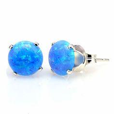 Sky: 8mm Azure Blue Created Opal Crown Set Cab Stud Post Earrings, Solid 925 Sterling Silver