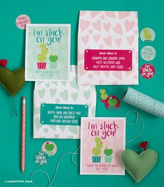 Printable #ValentinesCards and stickers at www.LiaGriffith.com