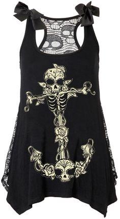 Débardeur Nana JAWBREAKER - Skeleton Anchor - http://rockagogo.com